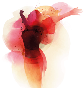 Watercolor woman expressing freedom