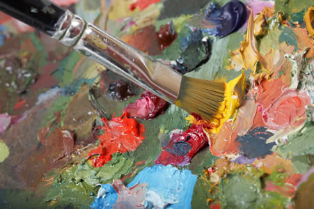 Oil paints and brush