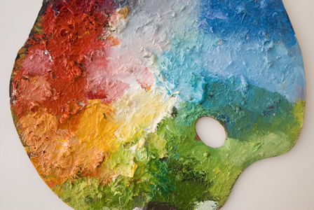 Palette of colorful oil paints